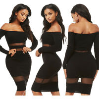 Sexy Women's See-Through Off Shoulder Long Sleeve Pack Hip Clubwear Bodycon Mini