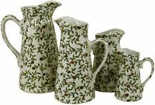 More details for set of 4 ceramic jugs, vintage green & white floral design