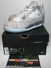 Air Jordan Retro 4 IV Laser White Gold Pop Up Shop Boy's Sneakers Size 6.5 New