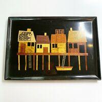 Vintage MCM Midcentury Couroc Tray Wood Metal Inlays Fish Black Brown