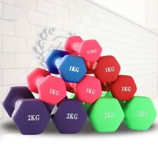 Hex Neoprene 1/2/3 LB Pound Pair of Dumbbell Weights Ladies Children's Fitness