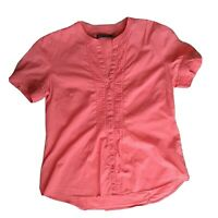 Sportscraft Womens Coral Pink Cotton Short Sleeve Textured Shirt Blouse Size 12