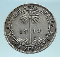 1914 British WEST AFRICA UK King George V Genuine Silver Shilling Coin i78284