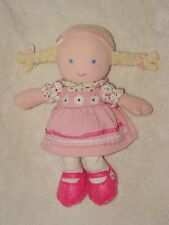 Carters Plush Baby Doll Pink Corduroy Flower Dress Blond Pigtails Soft Toy