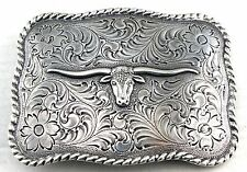 WESTERN TEXAS LONGHORN STEER BULL TROPHY FOR LEATHER COWBOY SILVER BELT BUCKLE