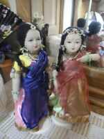 """VTG 2 INDIA LADY Dolls Painted Faces Saris Veils Beads Gold Jewelry Stands 10.5"""""""