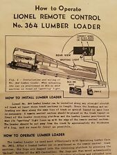LIONEL 364 LOG  RAMP INSTRUCTIONS DATED 10.48