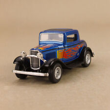 1932 Ford 3-window Coupe Blue Hot Rod W Flames 1 34 12.5cm Diecast Pullback OLP