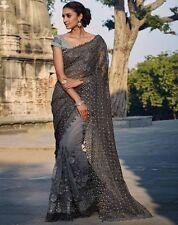 Último diseñador de India Bordados gris de Bollywood inspirada Partywear Sarees