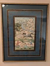 India Mughal Tiger Hunt Silk Painting, lovely blues with gold framing. Superb!