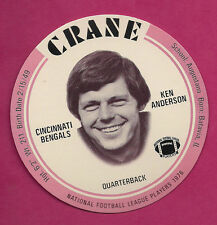 RARE 1976 CRANE POTATO CHIPS KEN ANDERSON  FOOTBALL DISK MINT CARD (INV#0541)