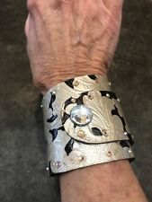 Leather Cuff handcrafted bracelets handpainted