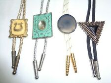 Lot of 4 Vtg Bolo Ties Southwestern Buckle Polished Stone Triangle