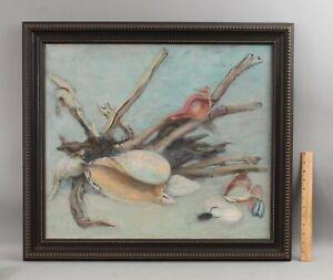 Large GUY HOFF American Maritime Still Life Oil Painting Seashells & Driftwood