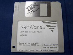 Novell Netware Version 2.15A ADOBJ for IBM 80386 p/n 88f0002 1983 1987 floppy