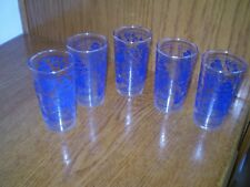 """FIVE (5) 4.75"""" TALL/10-OUNCE BLUE WILLOW GLASSES"""
