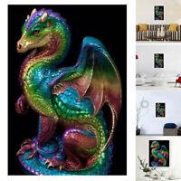 JN_ Colorful Dragon 5D Partial Diamond DIY Wall Painting Cross Stitch Home Dec