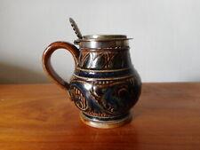 More details for doulton lambeth ware, stoneware miniature mustard pot