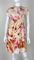 Akris New 6 US 42 IT 36 D M Pink Cream Silk Sheath Summer Dress Tie Runway Auth