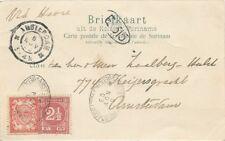 """SURINAM 1903 Ansichtskarte Paramaribo (""""Heerenstraat"""") mit Schiffspoststempel"""