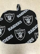 Pot Holder / Loop to Hang - Quilted Back / Raiders on Black - NFL - NEW!
