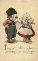 Dutch Girl & Boy Romance Unsigned Hand Colored Charles Twelvetrees Postcard #2