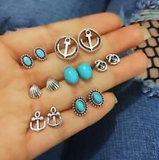 7 Pairs/Set Hot Fashion Women Jewelry turquoise Anchor shell earrings