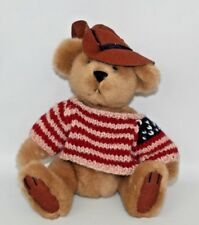 "Pickford Brass Button Bear ""Cody"" Plush Teddy American Flag Sweater 9"" Sitting"