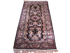 6 ft Black Traditional Style Runner 30 x 72 in Aubusson Hand-knotted Carpet Rug