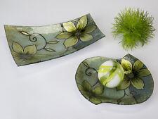 Teller Glas Deko Blume grün 25 cm (B884558) Glasschale Dekoschale Glasteller