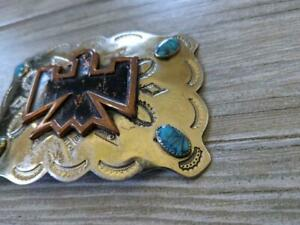 vintage SOUTHWEST belt buckle BELL nickel silver TURQOUIS indian NATIVE AMERICAN