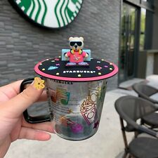 Starbucks Bear Glass Coffee Mugs W/ Silicone Lid Milk Cups Limited Edition Korea