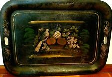 Antique Metal Toleware Tray - 19th C French Victorian Tole Painted - Rare