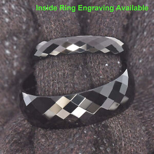 Black Tungsten Argyle Faceted Dome Top Ring His Hers Wedding Band
