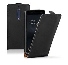 SLIM BLACK Leather Nokia 5 (+2 FILMS) Flip Case Cover Pouch