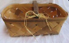 "Wood Slat Basket Vegetable/Fruit 18 x 9.5 x 6"" Made in USA"