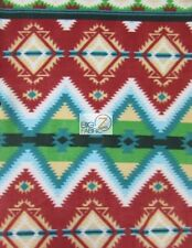 AZTEC INDIAN PRINTED FLEECE FABRIC - Tribal Diamonds Green - BY THE YARD BLANKET