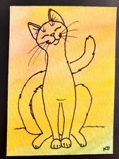 """Sunbeam"" original Aceo watercolor of a happy cat in the light, signed by artist"
