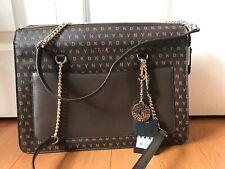 DKNY Bryant Signature Top- ZIP Tote Handbag Brown Gold Accents MSRP: $248