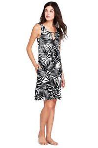 Lands End Women's Flounce Swim Cover-up Dress White/Black Havana Palm New