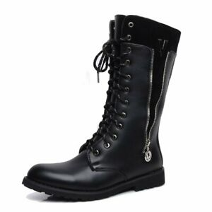 Men's Shoes Fake Zipper Lace Up Leather Upper Mid Calf Combat Motorcycle Boots
