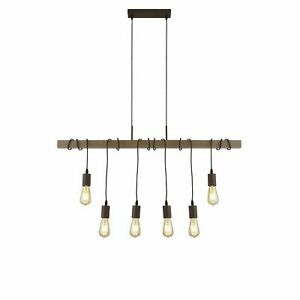 Searchlight Barn 6 Light Pendant With Wood Brown/Black
