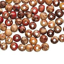 4182NB Bead Mix Wood Painted Brown Red Yellow 8mm Round 3mm hole, 100 Qty
