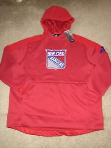 New York Rangers NHL Adidas Red Game Mode Pullover Hoodie Mens SZ M New