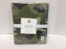 NEW Pottery Barn PB TEEN Green Olive Camo Deer Military Queen BED Sheets Set NEW