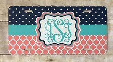 Monogrammed License Navy Dots with Aqua and Coral Personalized Vanity Plate
