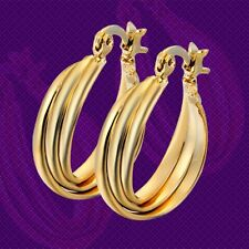 Pretty New Smooth & Shiny 14K Yellow Gold Filled 3-Row Twist Round Hoop Earrings
