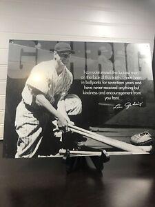 Vintage Replica Tin Metal Sign Lou Gehrig baseball player ball glove bat 1531