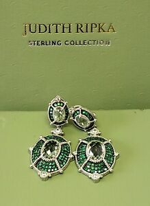 JUDITH RIPKA Sterling  Prasiolite & Pave Chrome Diopside Earrings Clip On NEW