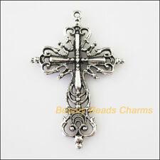 2 New Flower Cross Tibetan Silver Tone Charms Pendants 42.5x64mm